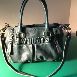 B. Makowski Greenish Blue Leather Shoulder Handbag
